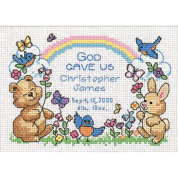 "God's Babies Birth Record Mini Counted Cross Stitch Kit-7""X5"" 14 Count"