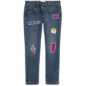 ONETOW Fendi Girls Patched 'Monster' Jeans