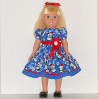 American Girl Doll Christmas Dress Blue with Penguins & Snowflakes