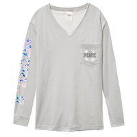 Campus Long Sleeve V-Neck Tee - PINK - Victoria's Secret