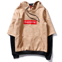 SUPREME Simple Fashion Splicing Print Long Sleeve Top Sweater Pullover Hoodie