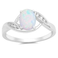 Sterling Silver Oval Created Opal & CZ Ring