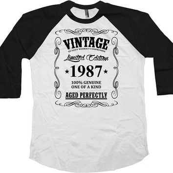 30th Birthday Shirt Bday Present Custom T Shirt Personalized TShirt Bday Gift Ideas Vintage 1987 Birthday Aged Perfectly Baseball Tee - BG48