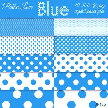 blue polka dot digital paper, polka paper, digital scrapbook. digital polkas, scrapbook supplies, instant download, dp125