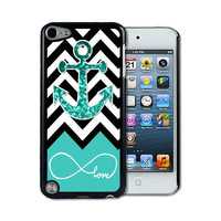 IPod 5 Touch Case Thinshell Case Protective I Pod 5G Touch Case Shawnex Infinite Love Teal Glitter Anchor