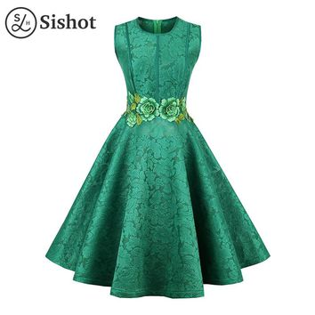 Women casual dresses summer fall green floral embroidery o neck elegant sleeveless a line knee length casual dress