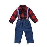 Baby Kids Clothing Braces Jeans Jumpsuit Red Check Top T-Shirts Long Sleeve Romper Overalls Clothes Outfits Boy 0-24M