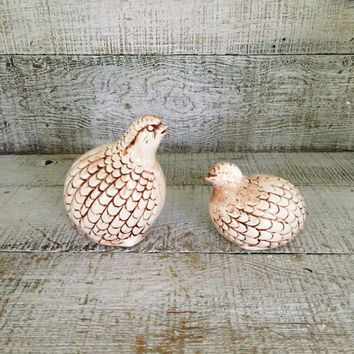 Quail Figurines Vintage Mid Century Quail Figurines Pair of Birds Fall Decor Vintage Bird Collectible Woodland Bird Ceramic Paperweight