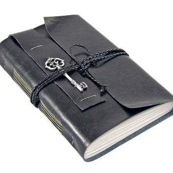 Large Faux Leather Journal with blank paper and reproduction key, vegan
