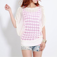 Hollow Out Bat Tops Knit Slim Blouse [10250058508]