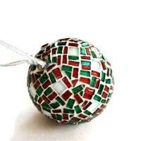 Red and Green Mosaic Christmas Decoration
