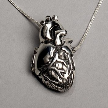 Original Silver Anatomical Heart Locket- 28 inch chain