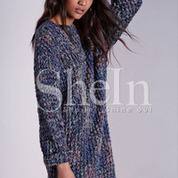 Multicolor Long Sleeve Round Neck Sweater -SheIn(Sheinside)