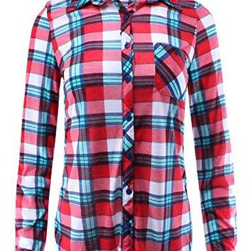 Ladies Code Womens Checkered Plaid Shirt With Roll Up Sleeves In Various Styles