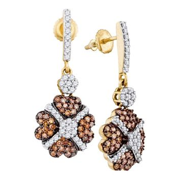 10kt Yellow Gold Womens Round Cognac-brown Color Enhanced Diamond Cluster Dangle Screwback Earrings 1.00 Cttw