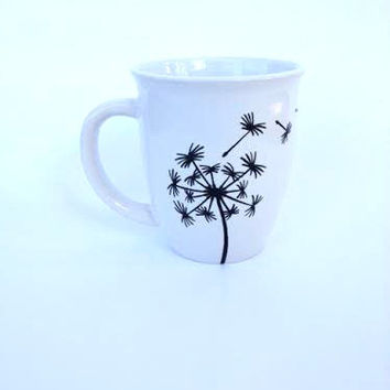Hand-painted Dandelion coffee cup