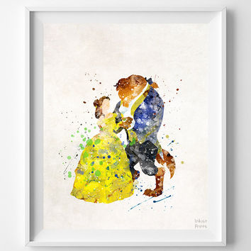 Beauty and the Beast Print, Belle Watercolor Art, Type 2, Disney Poster, Nursery Posters, Artwork Sale, Home Decor, Halloween Decor