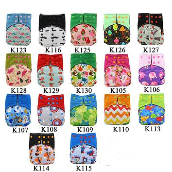 Cloth Diaper Cartoon Newborn Infant Nappies Adjustable Baby Diaper Cover with Microfiber Insert