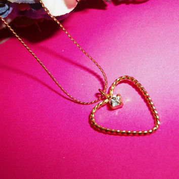 """Heart Pendant Necklace Cubic Zirconia Accent Gold Metal 17"""" Serpentine Chain Vintage Costume Jewelry"""