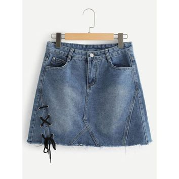 Raw Hem Lace Up Denim Skirt