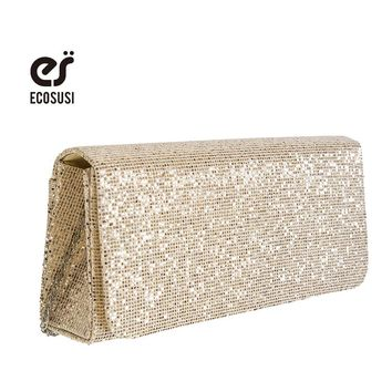 ECOSUSI 2016 Fashion Women Clutch Bag Dazzling Sequins Glitter Sparkling Handbag Dazzling Gold Evening Party Bag