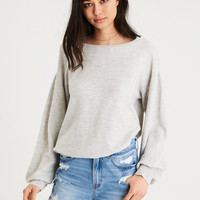 AE TEXTURED BALLOON SLEEVE SWEATER, Gray