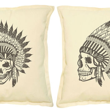 Skull wear indian headdress Printed Khaki Pillow Case VPLC_02 Size 18x18