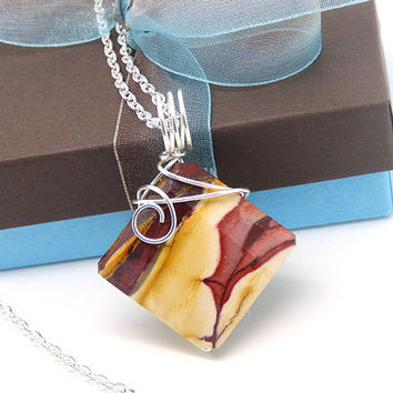 Mookaite Necklace, Sterling Silver, Mookaite Jasper Pendant, Wire Wrapped Natural Stone, Diamond Shaped, Yellow, Red Rock Jewelry