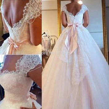 2016 Romantic Vestidos de Novia Wedding Dress Square A Line Lace Capped Sleeve Bow Ribbon Exquisite Bridal Gowns