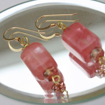 Yummy Strawberry Quartz Dangle Earrings-Classy Style