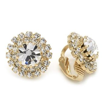 Gold Layered 02.09.0151 Leverback Earring, Flower Design, with White Cubic Zirconia, Polished Finish, Golden Tone