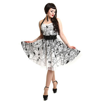 Vixxsin Dark Crow Halterneck Dress (White/Black)