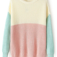 ROMWE | ROMWE Color Block Long Sleeves Pink Jumper, The Latest Street Fashion