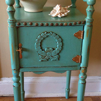 Vintage Hand Painted Turquoise Side Table Cabinet