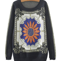 Navy Blue Floral Print Knitted Sweater