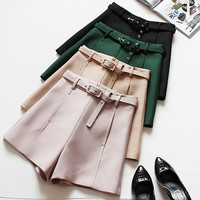 Great Quality Solid High Waist Short with Pockets