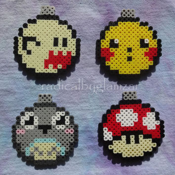 Assorted Geek Christmas Tree Perler Bead Ornaments