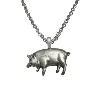 Detailed Pig Pendant Necklace