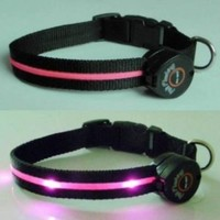 Dog Collar with Pink LED Lights, Multi-Function, Medium