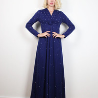 Vintage 70s Dress Midnight Navy Blue White Beaded Maxi Dress V Neck Knotted Long Sleeve Dress Mod Hostess Gown 1970s Dress XS Extra Small S