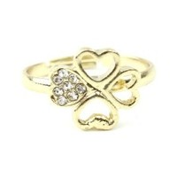 Knuckle Midi Ring Set 4 Leaf Heart Gold
