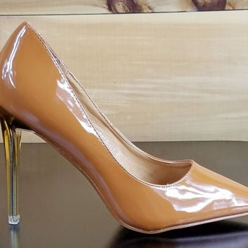 "Cape Robbin Camel Brown Patent Pointy Toe Pump Acrylic 4.25"" Stiletto Heel"