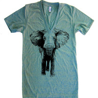 Mens / Unisex ELEPHANT Deep V Neck T Shirt - american apparel - XS S M L XL (15 Color Options)