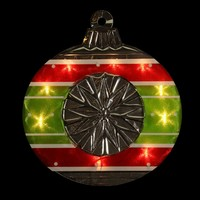 "15.5"" Lighted Shimmering Red  Green  White & Silver Ornament Christmas Window Silhouette Decoration"