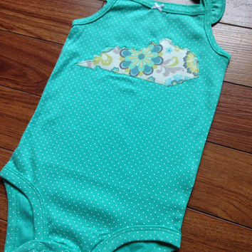 Kentucky Onesuit Baby Size 3, 6, 9, 12, & 18 Months  - Green Floral - Handmade - State of Kentucky Baby Onesuit