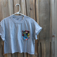 Hers Cut Off Avengers Print Paige's Pocket Tee (Grey)