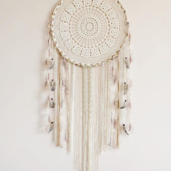 Dream catcher, pastel, cream, neutral, extra large, wall hanging, handmade, wall decor, dreamcatcher, boho, bohemian, bedroom decor, macrame
