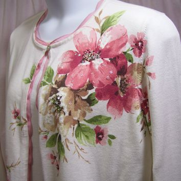Floral Print, Knit Sweater. 2Fer, Ivory Rose, Alfred Dunner, Dressy Casual, Resort Cruise Wear, Size XL or Plus 1X  See Measurements