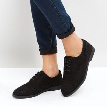 New Look Suedette Brogue Flat Shoe at asos.com