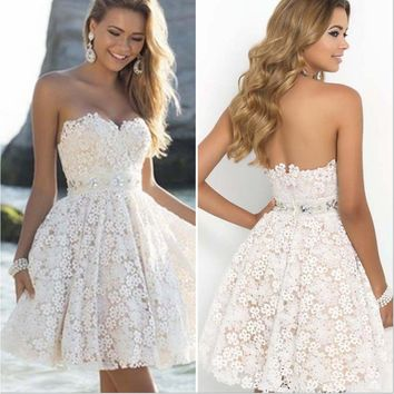 Backless Lace Knee Length Strapless Wedding Dress